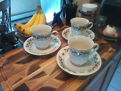 """Set of 3 Holly Yuletide Japan 3-1/4""""tall cups and saucers. Mint!!!"""
