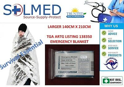 2 X First Aid Thermal Shock Blankets Emergency Survival Larger