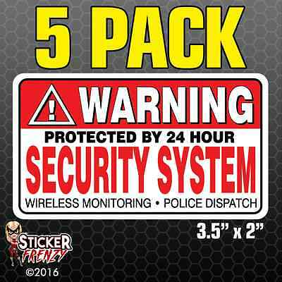 5 Pack WARNING Security System Stickers Home Alarm Decal Vinyl Window #FS031