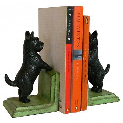 Hand Painted Cast Iron Scotty Scottish Terrier Bookends - Green Base