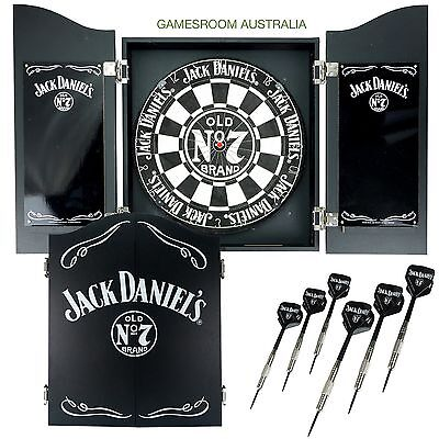 JACK DANIELS Dartboard Cabinet Set with Darts - Slight Damage