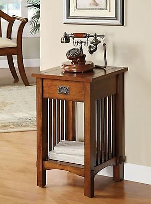 Legacy Decor Mission Style Telephone Stand in Antique Oak Finish w/ Drawer