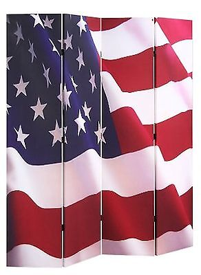 """4-panel Room Screen Divider American Flag Double Sided Canvas 70""""H X 67""""W"""