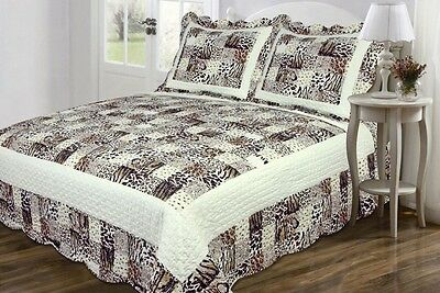3PC Zebra Leopard Animal Print Coverlet Bedspread Soft Microfiber QUEEN Size