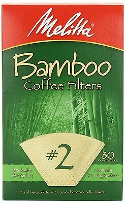 (Pack of 6) Melitta Bamboo Coffee Filters, #2, 80-Count Boxes