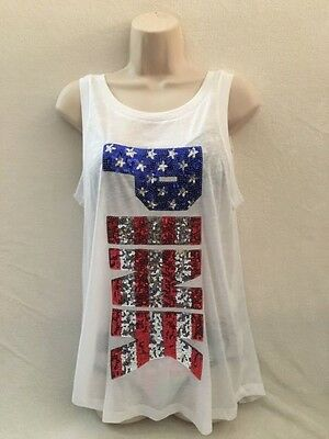VICTORIA'S SECRET PINK TANK 2016 4 of JULY PATRIOT SCRIPT IN SEQUINS SMALL NWT
