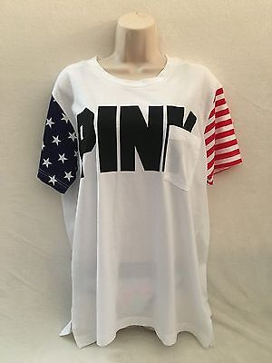 VICTORIA'S SECRET PINK TEE 2016 4 of JULY PATRIOT SCRIPT IN PINK ON FRONT M- NWT