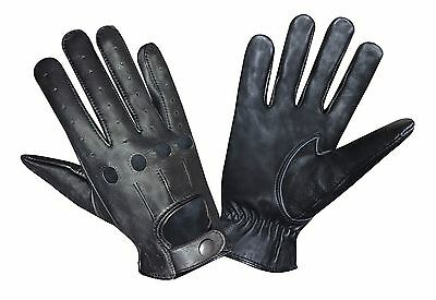 Ak Top Quality Real Soft Leather Mens Fashion Driving Gloves Black