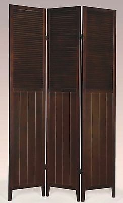 3 or 4 Panel Solid Wood Shutter Style Room Screen Divider Espresso Color