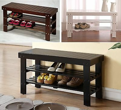 Legacy Decor Solid Wood Shoe Bench with Two Racks, White, Black or Walnut Color