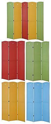 3 or 5 Panels Solid Wood Screen Room Divider, Red , Honey, Green, Blue