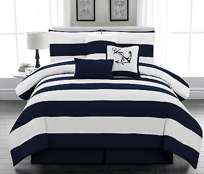 Full Queen King Comforter Nautical Navy Soft Microfiber 7-PCS Bedding Set  NEW