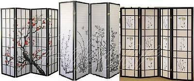 4 & 3 Panel Wood Shoji Screen Room Divider Flowered Design