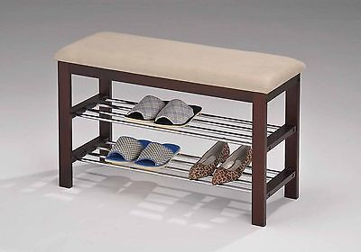 Walnut and Beige Wood Shoe Bench with Two Metal Racks and Vinyl Seat Cushion
