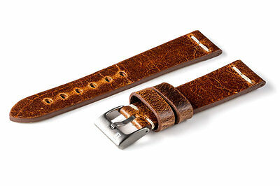 Cinturino cuoio vintage ColaReb ROMA marrone 20mm watch band strap made in Italy