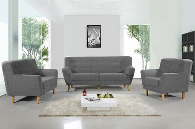 Modern Accent Tub Sofa Love Seat Armchair Grey Charcoal Fabric 1 / 2 / 3 Seater