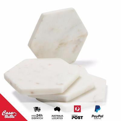 Marble Hexagon Drink Coasters - Set of 4 - White - Modern Living - Table Decor