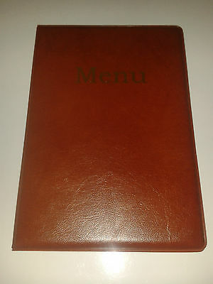 Qty 15 -- A5 Menu Cover/Folder In Light Brown Leather Look Pvc- As Per Image