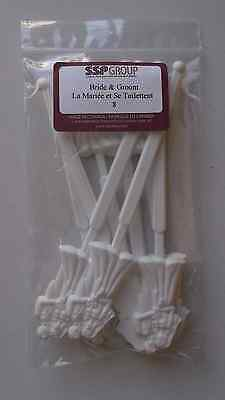 48 case pack of 8 - 6.5 inch/16.25 cm White Bride and Groom Stir / Swizzle Stick