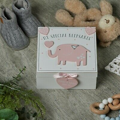 Baby Girl wooden Memories Keepsake Box Vintage Style CG1307P