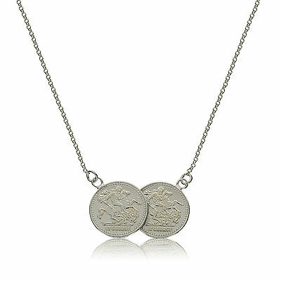 Sterling Silver Solid Double St George Coin Medal Belcher Chain Necklace Boxed