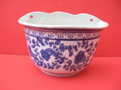 Vintage Blue & White Floral Pattern Wall Pocket Planter Hand Painted Ceramic