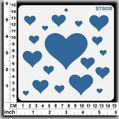 Stencils Templates Masks for Scrapooking, Cardmaking - Hearts ST5038