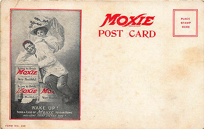 """Wake Up! Send a Case of Moxie to Our Home"" Advertising Postcard"