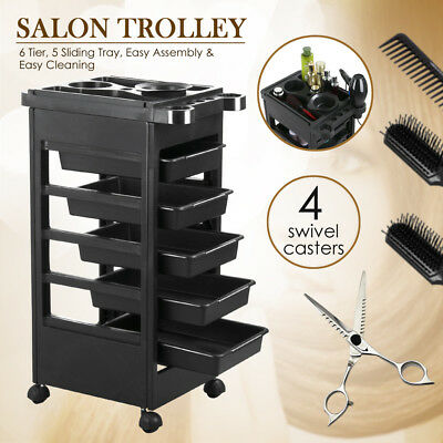 Salon Hairdresser Beauty Spa Hair Trolley Rolling Storage Cart 5 Drawer