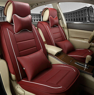 2016 Universal PU Leather Car Seat Covers Wine Red Full Set Breathable New Arive