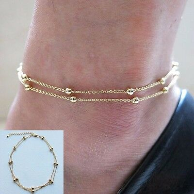 Chic Women Gold Delicate Bead Double Chain Adjustable Ankle Leg Bracelet Anklet
