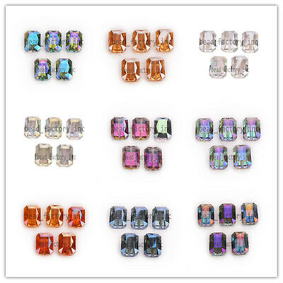 14x10mm Rectangle Square Faceted Crystal Glass Loose Spacer Beads 9 Colors Hot!