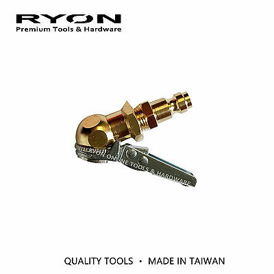 "Ball Tire Chuck Valve Lock On Clip w/ 1/4"" Male BSP Plug Air Tool Fitting Brass"