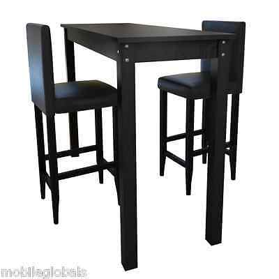 bartisch stehtisch barm bel tisch bar essgruppe mit 2 barhocker schwarz neu eur 174 99. Black Bedroom Furniture Sets. Home Design Ideas