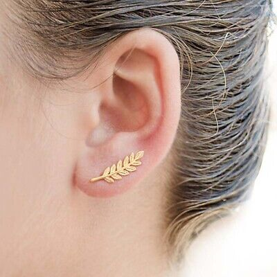 Sterling Silver Leaf Earrings Ear Crawlers Climber Sweep Up Handmade Jewelry