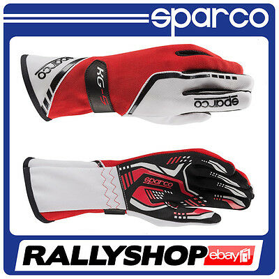 Sparco TORPEDO KG-5  size S 9 WHITE RED Kart Gloves Rally Race