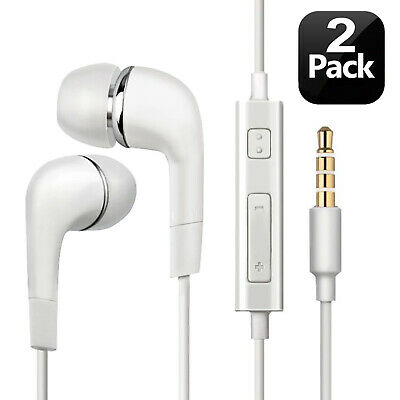 In-Ear Earphones Flat Headphones Extra Bass Black/White  with Mic Earbuds Buds