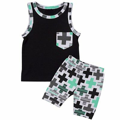 2pcs Toddler Infant Kids Baby Boy T-shirt Tops+Pants Summer Outfits Clothing Set