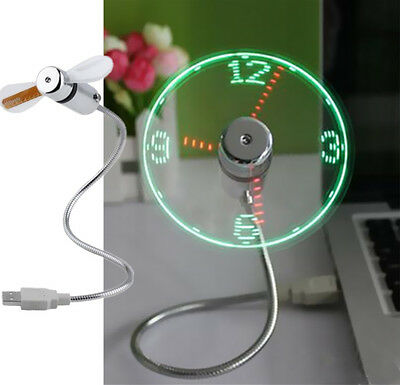 USB PC Notebook Hot Gooseneck Flexible Power LED Mini Fan Clock Home Office