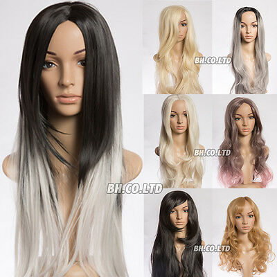 AU New Womens Ladies Short Long Straight Curly Synthetic Hair Grey Wig Costumes