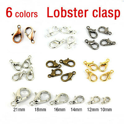 20/100Pcs Silver/Gold/Bronze Lobster Claw Clasps Hooks Finding DIY 10/12/14/16mm