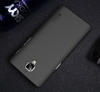NILLKIN Frosted Shield Case Cover+ Screen Protector For OnePlus 3 3T Three Black