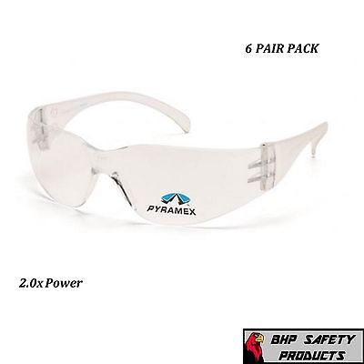 (6 Pair) Pyramex Intruder Reader Safety Glasses Bifocal Clear 2.0 Lens S4110R20