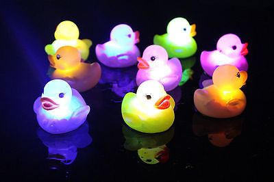 Baby Kids Infants Bath Bathing Duck Funny Changing Flashing LED Toy Multi Color