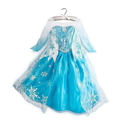 Girl Frozen Dress Costume Disney Princess Queen Elsa Party Birthday size 2-10Yrs