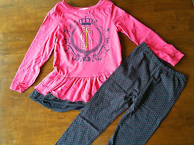NEW Juicycouture girl 2 pc pink outfit set tunic long shirt +leggings girls top