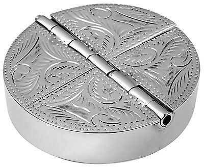 Four Compartment Engraved Round Pillbox 925 Silver Hallmarked From Ari D Norman