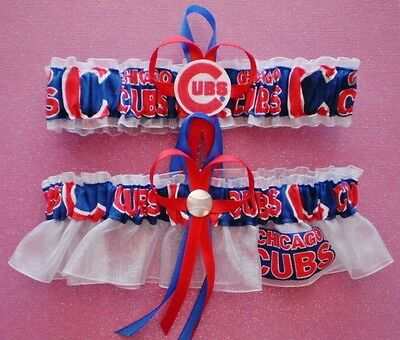 Chicago Cubs Logo Wedding Garter Set Prom  Baseball  Charm