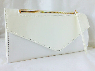 New Pale Blue  Faux Suede & Patent Leather Evening Day Clutch Bag Wedding Prom