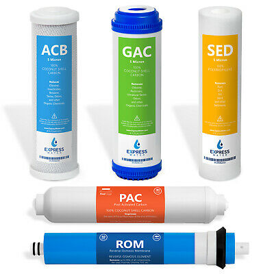 Replacement Filter Set for Standard 5 Stage Reverse Osmosis Water System 50 GPD
